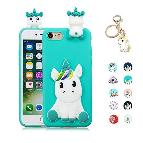Kawaii-Shop Funda Compatible con Samsung Galaxy J3 2016 2015 Silicona Case, 3D Unicornio Verde Claro TPU Gel Carcasa Inquebrantable Shell Cover para Chicas +Llavero de Unicornio