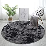 GKLUCKIN Shag Ultra Soft Area Rug, Non-Skid Fluffy 4'X4' Grey Black Round Plush Indoor Fuzzy Accent Circle Faux Fur Small Rugs for Living Room Bedroom Nursery Decor Kids Playroom