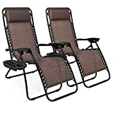 Best Choice Products Set of 2 Adjustable Steel Mesh Zero Gravity Lounge Chair Recliners w/Pillows and Cup Holder Trays, Brown