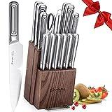 Emojoy Set Couteaux, 15 Pièces Couteau de Cuisines Professionnelle avec Bloc Couteaux, Ensemble de Couteaux en Acier Inoxydable Importé avec Support en Bois