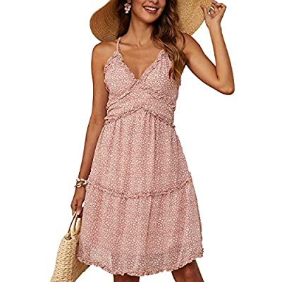 💓 Material: Polyester, Sexy and sweet style, soft, comfy to touch and wear, this sexy v-neck chiffon dress will give you a nice cool feeling in hot summer. 💓Unique Design: The boho spaghetti strap dress with sexy v neck, sleeveless, backless, ruffles...