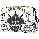 Neceseres de Viaje Tanque de capitán Pirata Portable Make Up Bags Neceser de Práctico Bolsa de Lavado de Baño Viajes Vacaciones Fiesta Elementos Esenciales 18.5x7.5x13cm