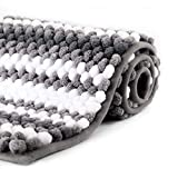 WELTRXE Chenille Striped Bath Rug Non-Slip Grey and White Bathroom Rug Mat, 32x 20, Extra Soft and Absorbent Shaggy Rugs, Machine Washable Plush Carpet Mats for Tub, Shower, Bath Room, Kitchen