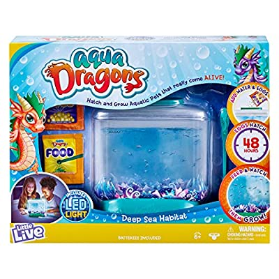 Hatch and grow amazing tiny Aqua Dragons in a special Deep Sea Habitat tank! Place the eggs into their water filled habitat and after 48 hours tiny aquatic dragons will hatch and come to life! The Deep Sea Habitat tank has everything you need to crea...