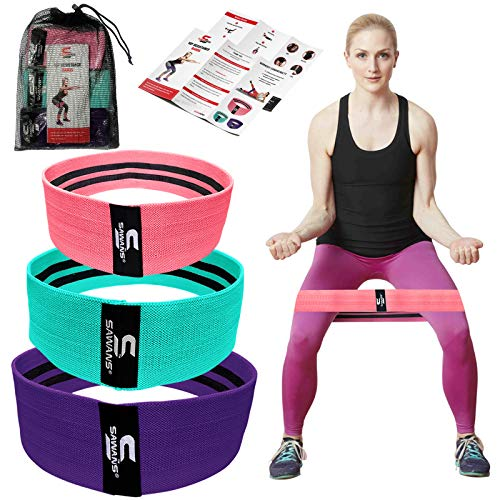 Resistance Bands, Resistance Band for Legs and Glutes, Includes Exercise Band Workout Booklet, Non-Slip Booty Band for Women & Men Hip Circle, Back Stretcher Set of 3 (Pink,Blue,Purple)