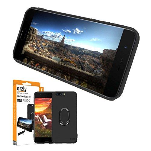 Orzly Funda Ultra-Fina OnePlus 5, Carcasa Protectora Slim-Stand [Anti-Arañazos] para el OnePlus 5 en Negro con Stand Integrado en Forma de Anillo para Mejor Agarre y Soporte para la Pantalla