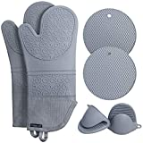 Rorecay Extra Long Oven Mitts and Pot Holders Sets: Heat Resistant Silicone Oven Mittens with Mini Oven Gloves and Hot Pads Potholders for Kitchen Baking Cooking, Quilted Liner, Gray, Pack of 6
