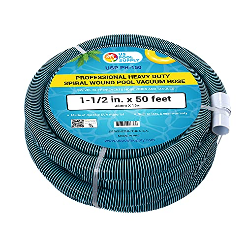 U.S. Pool Supply 1-1/2' x 50 Foot Professional Heavy Duty Spiral Wound Swimming Pool Vacuum Hose with Kink-Free Swivel Cuff, Flexible - Connect to Vacuum Heads, Skimmer, Filter Pump Inlet, Accessories
