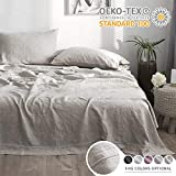 Simple&Opulence 100% Linen Sheet Set with Embroidery Stone Washed - Twin Size - 3 Pieces (1 Flat Sheet & 1 Fitted Sheet & 1 Pillowcase) Natural Flax Soft Bedding Breathable Farmhouse - Linen