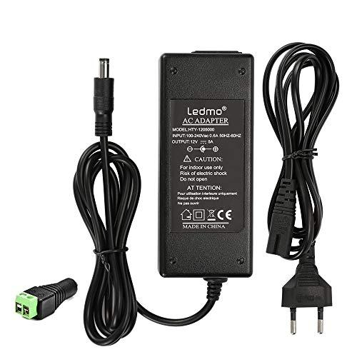 Adaptador de corriente LEDMO, transformador de 12V, fuente de alimentación de 12V 5A Transformador de 60W, fuente de alimentación universal de 12V AC110-240V, 12V 5A Adecuado para tira de LED, portátil, monitor, radio, etc.