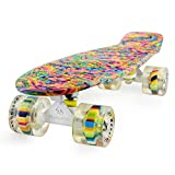 MEKETEC Skateboard Dog 22 inch Retro Mini Skateboards Kids Board for Boys Girl Youth Beginners Children Toddler Teenagers Adults 5 to 6 Year Old (Bending Color Lines)