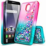NageBee Case for Alcatel Insight (Cricket) / TCL A1 A501DL with Tempered Glass Screen Protector (Full Coverage), Glitter Liquid Floating Waterfall Durable Girls Women Kids Cute Phone Case -Pink/Aqua