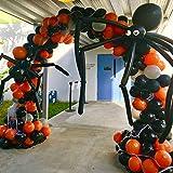 BONROPIN Halloween Balloon Garland Arch kit 175 Pieces with Halloween Spider Web Black Orange Gray Balloons Spider Balloons for Halloween Day Party Decorations