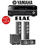 Elac F5.2 Debut 2.0 3.1-Ch Home Theater Speaker System with Yamaha RX-V685BL 7.2-Channel 4K Network A/V Receiver