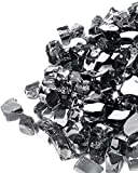 GASPRO 10 lbs Fire Glass for Propane Fire Pit, 1/2-Inch Reflective Fireplace Glass Rocks for Fire Pit Table, Black