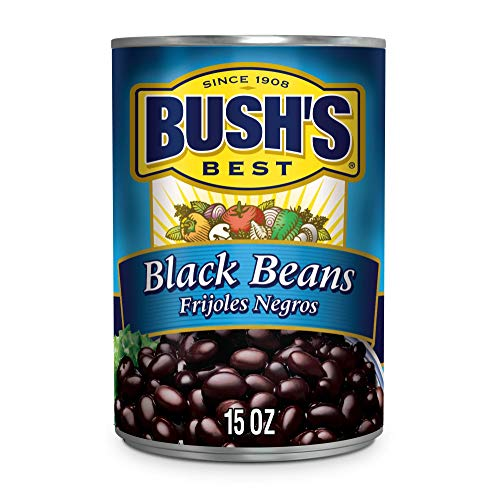 BUSH'S BEST Canned Black Beans (Pack of 12), Source of Plant Based Protein and Fiber, Low Fat, Gluten Free, 15 oz