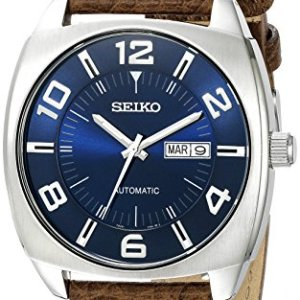 Seiko Men's SNKN37 Stainless Steel Automatic Self-Wind Watch with Brown Leather Band 40