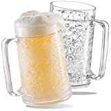 Freezer Beer Mugs, Double Wall, Insulated Gel Plastic Pint Freezable Glasses, 16 oz, Clear 2 pack , Chiller Frosty Cup, Frozen Ice Mug, Freezer Cups