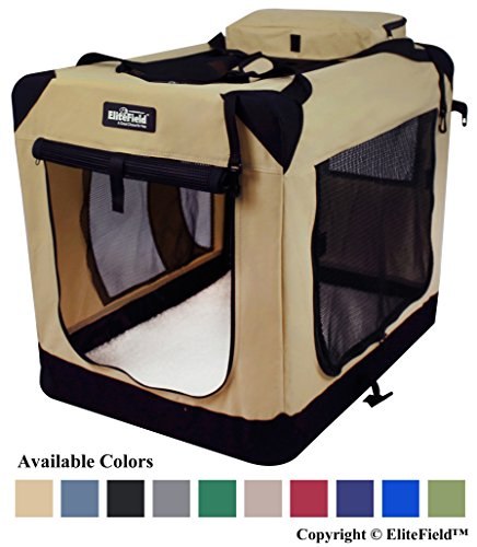 EliteField 3-Door Folding Soft Dog Crate, Indoor & Outdoor Pet Home, Multiple Sizes and Colors Available (36' L x 24' W x 28' H, Beige)