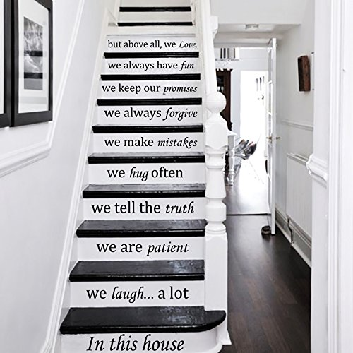 Wall Decals Staircase Quotes in This House. we Love Stair CASE Stairway Stairs Quote Wall Vinyl Decal Stickers Bedroom Murals