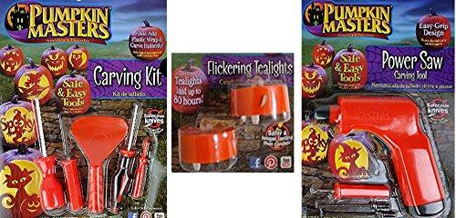 Pumpkin Masters Pumpkin Carving Kit, Power Saw Carving Tool & Flickering Tealights Bundle