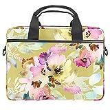 Bolsa para ordenador portátil de 13,5 a 14 pulgadas, maletín de ordenador portátil de la manga de la bolsa de hombro ligera mensajero de trabajo escolar para hombres y mujeres, flores moradas