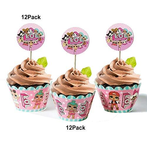 Image 3 - REYOK LOL Cake Topper+Surprise Poupée Feuille Ballon,LOL Double Face Gâteau Topper avec Bord de Gâteau(29 pièces),LOL Joyeux Anniversaire Fête Fournitures pour Enfants Décor