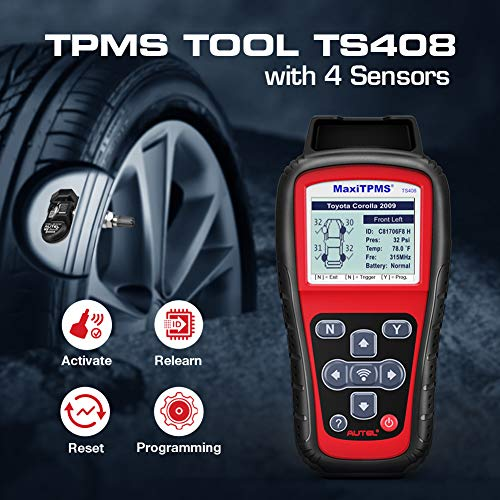 Autel TPMS Relearn Tool TS408 with 4 MX-Sensors, Upgraded Version of TS401, for TPMS Reset, Sensor Activation, Programming, Key Fob Testing with Lifetime Update