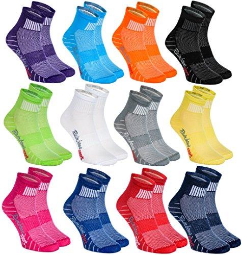 Rainbow Socks - Donna Uomo Colorate Calze Sportivi di Cotone - 12 Paia - Multicolore - Taglia 42-43