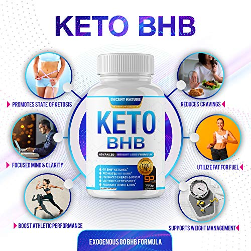 Keto Diet Pills 1200mg - Keto BHB Exogenous Ketones to Support Ketosis, Energy & Focus, Manage Cravings and Metabolism, Keto Pills for Men Women, 90 Capsules, Decent Nature Supplement 4