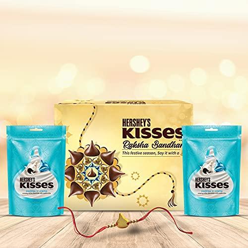 HERSHEY'S Kisses Chocolate Rakhi Gift Pack -Cookies N Crème Variant | with Special Kisses-Shaped Rakhi | 1 Gift Hamper (2*100gm Pack)+ Rakhi|| Celebration Gift Pack for Rakshabandhan