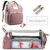 Baby Bag Backpack 3 in 1 - Diaper Bag with Portable Bassinet Combo - Waterproof Portable Expanding Nappy Bags - Multifunctional Travel Mommy Backpack Organizer with Crib Bed (Pink)