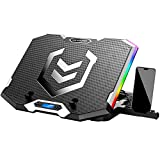 ICE COOREL RGB Laptop Cooling Pad 15.6-17.3 Inch, Gaming Laptop Cooler Stand with 6 Quiet Cooling Fans and 6 Height Adjustable, LCD Screen and RGB Lights, Two USB Ports, One Phone Stand (Blue Fan)