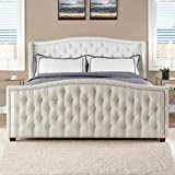 Jennifer Taylor Home Hand-Tufted Upholstered Bed with Hand Applied Nail Heads, King, Antique White