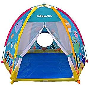 &#9875MARINE ANIMAL WORLD: We have carefully designed the cute cartoon characters of various marine life to let the children know the underwater world &#9875LARGE INTERNAL SPACE: The hexagonal design allows for extra-large space in the tent to accomm...