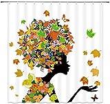 QUANOVO Cortina de Ducha de nia de Las Flores Hada Cortina de bao de Moho polister Impermeable contra fungicida 72x72 Pulgadas Gancho de la cada de Las Hojas de Arce Mujer