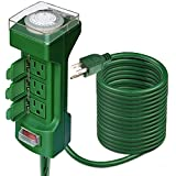 ANKO Outdoor Power Stake Timer, 12 Feet 6 Outlet Weatherproof Power Strip Timer Switch Outdoor Extension Cord, Safety Cover; ETL Certified