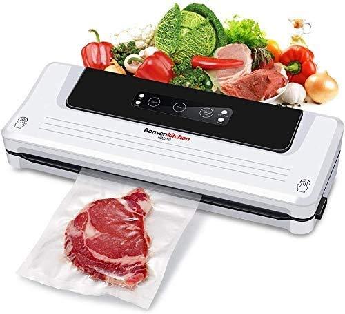 Macchina Sottovuoto per Alimenti Bonsenkitchen, Sigillatore sottovuoto per alimenti freschi sia secchi che umidi, bianco VS3750