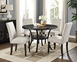 Roundhill Furniture D162TA Biony Dining Collection Espresso Wood Set Fabric Nailhead Chairs, Tan