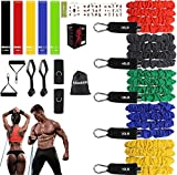 Resistance Bands Set(17pcs),Portable Home Gym Exercise Fitness Bands with Handles,Door Anchor, Waterproof Carry Bag, Legs Ankle Straps for Resistance Training,Physical Therapy, Home Workouts,Yoga