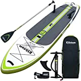 Elkton Outdoors Grebe 12 Foot Fishing Inflatable Paddle Board Stand Up SUP Package with Non-Slip Foam Deck, Fishing Rod Holders, Accessory Mounts, Carry Bag, Aluminum Paddle, High Pressure Pump, Green