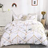 Marble Bedding Geometric Marble Duvet Cover Set White Gold Marble Texture Printed Design White Gold Bedding Sets Queen 1 Duvet Cover 2 Pillowcases (Queen, Marble)