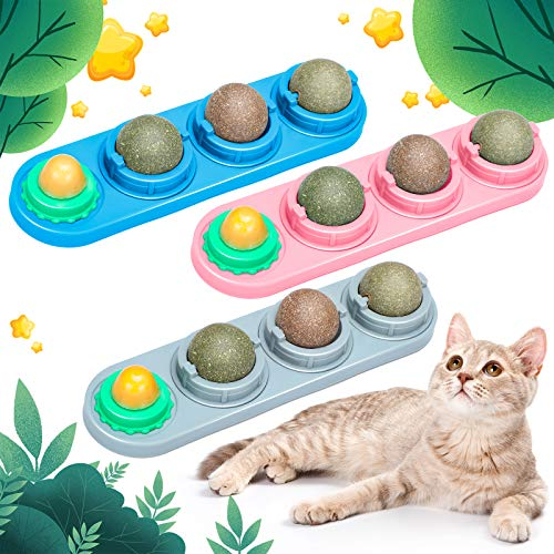3-Pieces-Catnip-Wall-Ball-Toys-Rotatable-Snack-Edible-Cat-Balls-4-1-Removable-Licking-Catnip-Balls-Chewing-Toy-Teeth-Cleaning-Dental-Cat-Toy-for-Cats-Kitten-Kitty-Gray-Pink-Blue