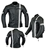 MENS MOTORCYCLE ARMORED HIGH PROTECTION LEATHER(FULL GRAIN) JACKET BLACK AND WHITE LJ-3024 (M)