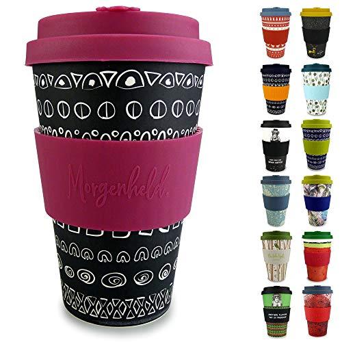 Morgenheld il tuo bicchiere di bambù alla moda   Coffee-to-Go bicchiere   bicchiere con coperchio in silicone e fascetta dal design futuristico da 400 ml