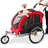 Best Choice Products 2-in-1 Pet Stroller and Trailer w/Bike Hitch, Suspension, Safety Flag, and Reflectors