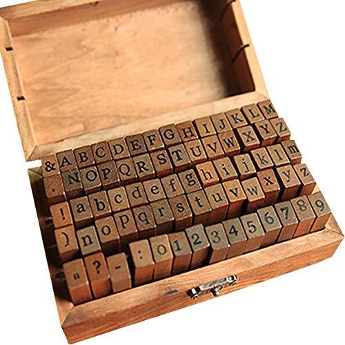 IWILCS Alphabet Stempel Set, 70 Stücke Stempel Set, Alphabet Buchstaben Briefmarken, Alphabet Buchstaben Zahlen Set, mit Aufbewahrungs Box, Buchstaben Anzahl Symbol, für Kunst, Handwerk