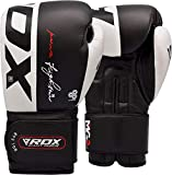 RDX Boxing Gloves for Training & Muay Thai - Cowhide Leather Mitts for Sparring, Kickboxing & Fighting - Great for Heavy Punch Bag, Focus Pads, Grappling Dummy and Speed Ball Punching