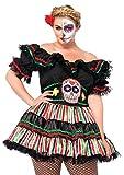 Leg Avenue Women's Plus Size Day of The Dead Sugar Skull Costume, Black/Multi-Colored, 1X / 2X