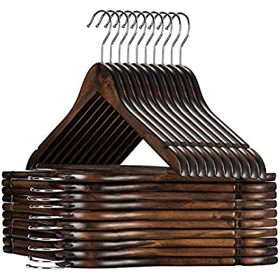 Set of 30 premium lotus wood suit hangers. These luxurious clothes hangers are unlike the rest; made of exceptional quality clear varnished wood with all practical features as a 360-degree chrome hook, a grooved vinyl covered pant bar, and a contoure...